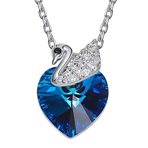 DEQIAODE Little Swan Damen Halskette 925 Sterling Silber mit Kristallen von Swarovski Herzanhänger, Muttertagsgeschenke, Allergenfrei Bestanden SGS-Inspektion