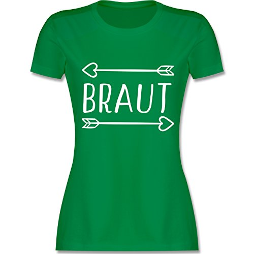 Shirtracer JGA Junggesellinnenabschied - Braut Pfeile - Damen T-Shirt Rundhals Grün