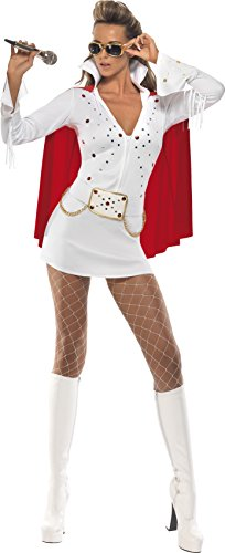 Smiffys, Damen Elvis Viva Las Vegas Kostüm, Kleid und Umhang, Größe: S, 33252