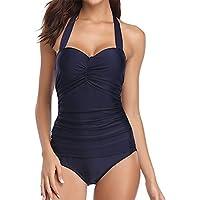 Hawiton Damen Badeanzug Einteiler Neckholder Rückfrei Retro Monokini  Raffung Swimanzug Bademode Swimsuit 52982a8032
