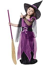 Amurleopard Deguisement Sorciere Enfant Costume Halloween Fille robe longue