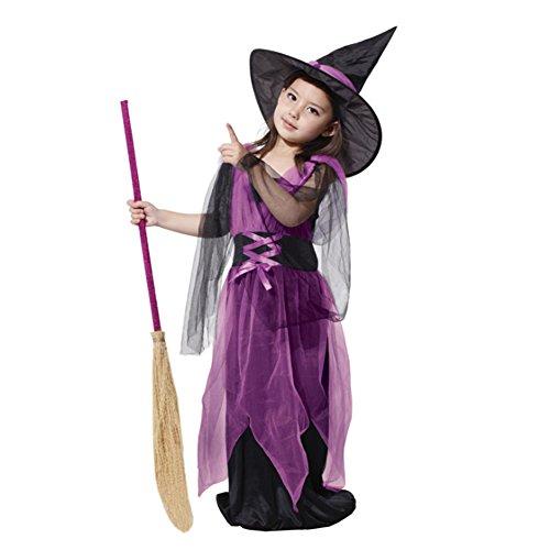 Kinder Mädchen Kostüm für Halloween, Lila Hexe
