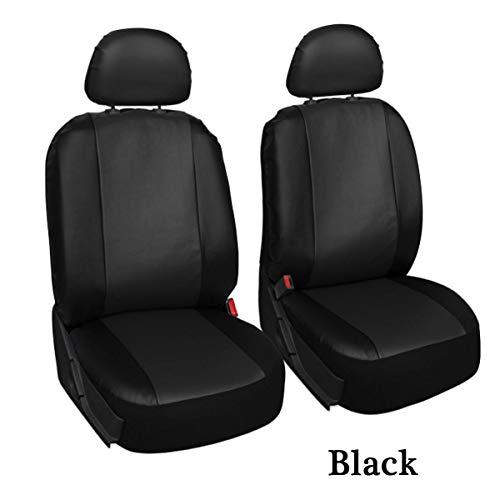 JenNiFer 4Pcs/Set Pu Leder Car Seat Detachable Cover Front Bucket Full Set Chair Protector Universal-Black