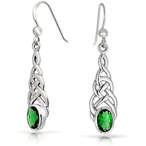 Bling Jewelry Emerald Colore ovale celtico Knotwork ciondola gli orecchini 925 - Knotwork Ciondola