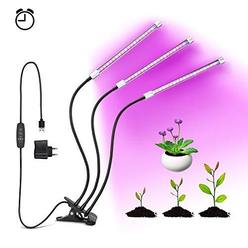 OUMMET Lampe de Plante 27W, Lampe de Croissance Lampe Horticole à Trois Têtes avec Cou de Cygne...