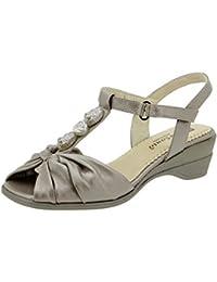 Calzado mujer confort de piel Piesanto 2557 sandalia cuña zapato cómodo ancho