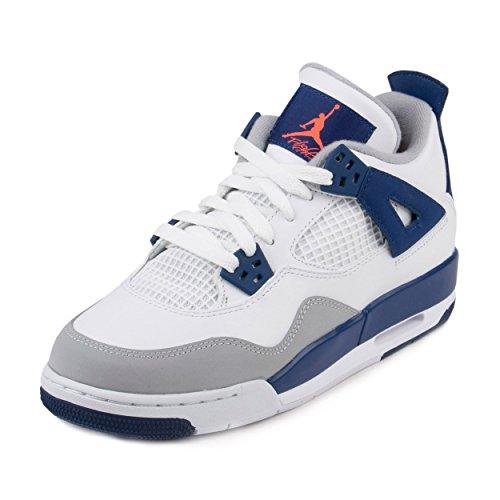 Nike Mädchen Air Jordan 4 Retro GG Laufschuhe, Blanco/Naranja/Azul (White/Hypr Orng-DP Ryl BL-WLF), 36 EU (Mädchen Retro Jordan Schuhe)