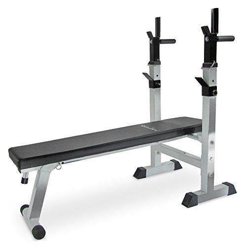 Hantelbank Fitness Sport, Trainingsbank für Bankdrücken, verstellbar und einklappbar,125 x 60 x 110 cm, silber-schwarz