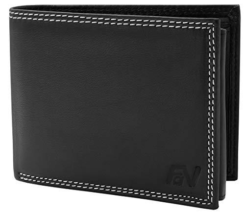 Fa.Volmer ® Stabile Schwarze Herren Geldbörse echt Leder Querformat mit RFID Schutz ()