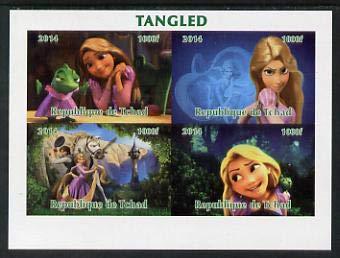 Chad 2014 Walt Disney's Tangled imperf sheetlet 4 values u/m FILMS MOVIES CINEMA CARTOONS DISNEY JANDRSTAMPS