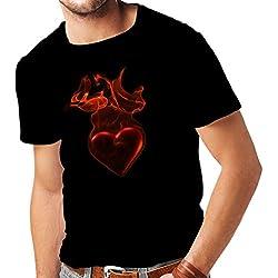 """camisetas hombre """"Corazón ardiente - Yo Te quiero"""" regalo de San Valentín (X-Large Negro Multicolor)"""