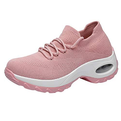 HDUFGJ Damen Laufschuhe Atmungsaktiv Turnschuhe Sneaker Outdoorschuhe Mesh-Schuhe Thick Bottom Platform-Schuhe Buffer Cushion Damen Schuhe Schaukelschuhe Flying Weben Socken Schuhe