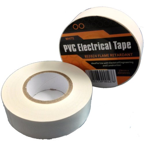 1-x-white-electrical-pvc-insulation-insulating-tape-19mm-x-20m-flame-retardant