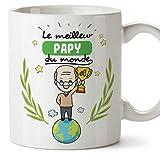 Mugffins Papi Tasse/Mug - Le Grand-Père du Monde - Tasse Originale/Idee Fête des Pères/Cadeau Anniversaire/Future Papi. Céramique 350 ML...