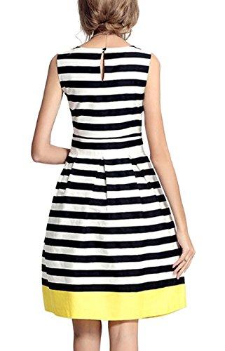 Summer Mae Damen elegantes A-Linie Kleid mit bunt horizontalen Streifen Weiß