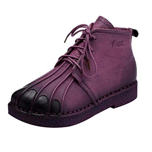 Vogstyle Femmes Main en Cuir Véritable Mère Chaussures Style-1 Violet