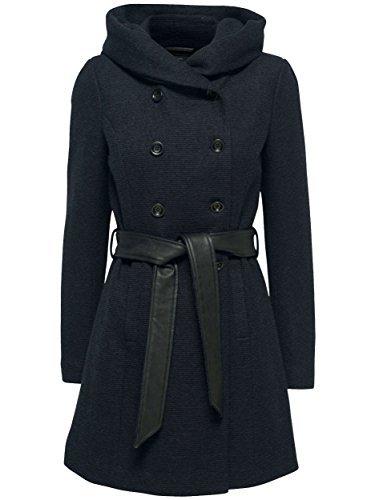 ONLY Damen Übergangs- Winter Jacke Mantel Lisa Long HS Wool Coat Kapuze grau blau (34 (Herstellergröße: XS), blau (Night Sky))
