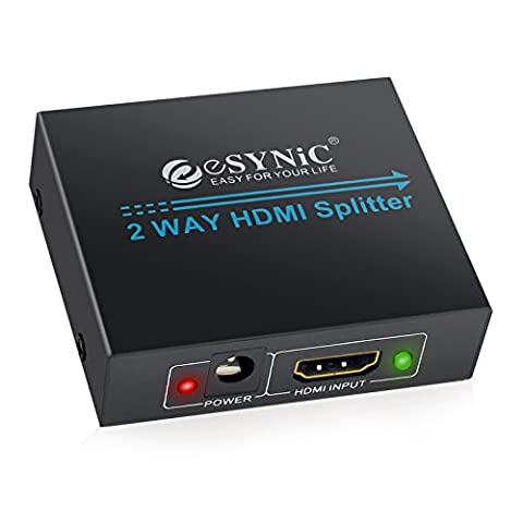 HDMI Splitter 2 Way Hdmi Splitter 1 in 2 out 1080P Full HD for 3D HDTV SKY HD PS4 Xbox360 Elite Virgin + Blu-ray Player DVD HD Camcorder HTPC Laptop Satellite