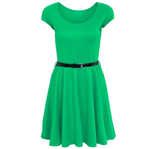 Janisramone - Robe - Robe patineuse - Uni - Manches Courtes - Femme * taille unique green