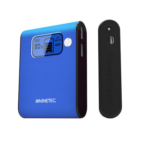 NINETEC Power Bank Akku 10.000 mAh Ladegerät extern USB für Smartphone Tablet NT-565 blau
