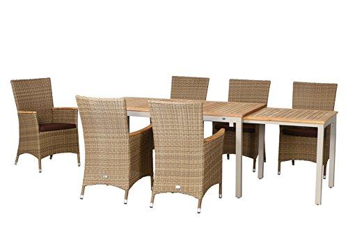 13-teilige Luxus Aluminium Teak Polyrattan Geflecht Gartenmöbelgruppe 'Tampa' , 6 Diningsessel, 6 Auflage und ein Ausziehtisch Tifosi 160/280x90, champagner - sand