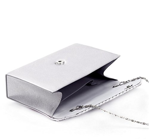 Clorislove Satin Strass Damen Clutch Abendtasche Handtasche Umhaengetasche (Silber) Silber
