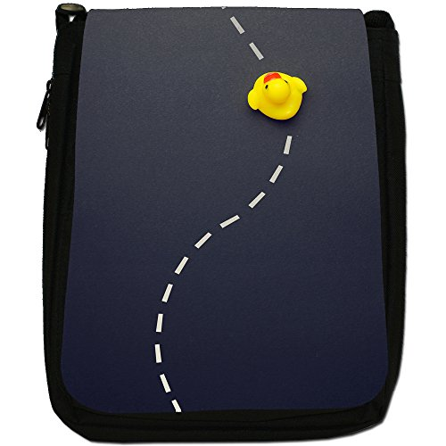 Lifetime-Paperelle di gomma per vasca da bagno Bubble-Borsa a tracolla in tela, colore: nero, taglia: M Nero (Follow The White Line Road)