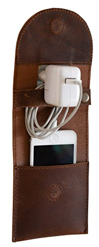 Preisvergleich Produktbild Gusti Leder studio ''Marian'' Handyhalterung Ladehalter für Smartphone Handy Smartphone Halter Steckdosen Wandhalter Echt Leder Büffelleder Braun 2E11-26-3