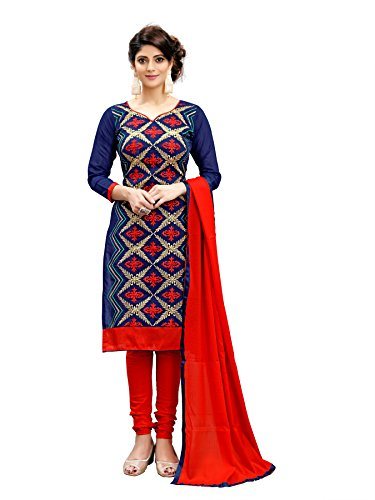 Siddeshwary Fab Women's Cotton Silk Blue And Red A-line Salwar Suit Set...