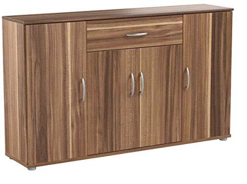 BEGA Sideboard Kommode Anrichte Mehrzweckschrank Highboard Schrank Lilly 13 Varianten mit 4 Türen, 1 Schubkasten und 3 Regalböden, 117 cm breit (Walnuss/Nußbaum)