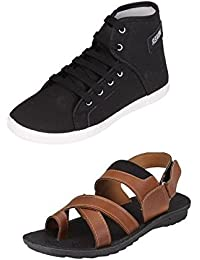 Tempo Men's Combo Black Sneakers Shoes & Black Floater Sandal