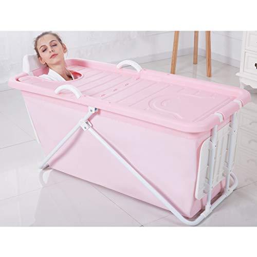 Zhanyi Faltbare Kunststoffbadewanne für Erwachsene, große, komfortable Badewanne für Privatanwender, einweichende Whirlpool-Pools, Baby-Pool (Farbe : Rosa)