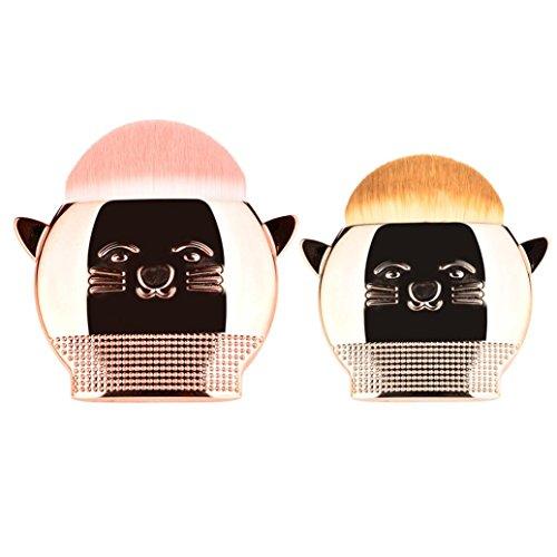 Dégagement!!!,❤️ ♬♬ ❤️ LMMVP 2PCS Brosse de Maquillage de Chat Mignon Pinceau à Poudre Pinceau à Maquillage (1 PCS, Gros Rose Or)