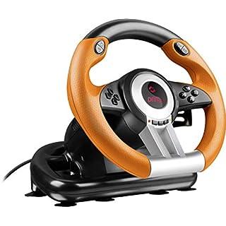 Speedlink Gaming Lenkrad für PC / Computer - DRIFT O.Z. Racing Wheel USB (Schaltknüppel, Gas- und Bremse-Pedale - Vibration, 180° Lenkbereich  - Controller für Driving Games oder andere Simulator-Spiele) schwarz/orange