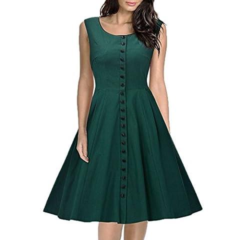 Mettre sur un grand robe sans manches col rond XXL vert