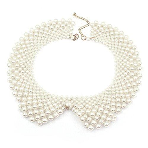 Vococal - Colletto Staccabile Falso Perline Tondo Collana Catena Collare Falso per Donne,Bianco