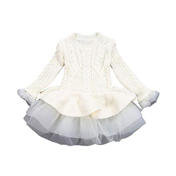 POLP Niñas Vestidos de Suéter de Punto con Manga Volante Pullover Jerseys de Invierno Tutu Suéter para Niñas Falda… 1