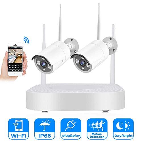 WiFi IP Kamera Set, WLAN Überwachungskamera Kit Innen außen, IP66 Wasserfesten,Bewegungserkennung,Baby/Ältere/Haustier Monitor Baby Monitor Kit