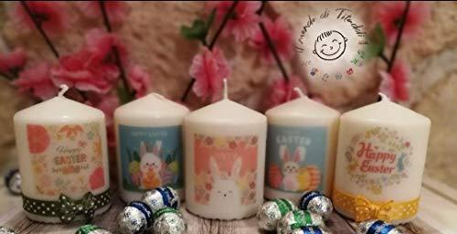 Candele pasqua, segnaposto set 5 candele decorate a mano