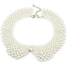 8a9383379b7c Vococal - Cadena de Collar de Perlas Redondo   Cuello Falso Desmontable  White Collar Falso para