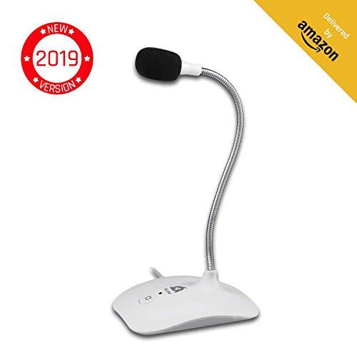KLIM Talk - USB Standmikrofon für Mac und PC - Kompatibel mit Allen Computermodellen - Professioneller Desktop-Mikrofon - Hohe Klangqualität - Weiß [ Neue 2019 Version ]