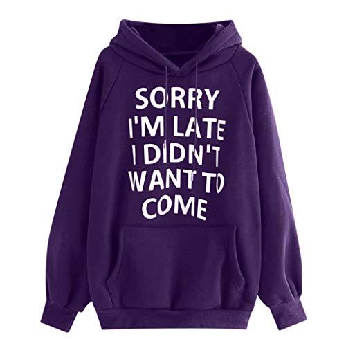 GOKOMO Frauen Hoodie Pullover Langarm Brief Drucken Tasche Sweatshirt Pullover Tops(Lila,X-Large)