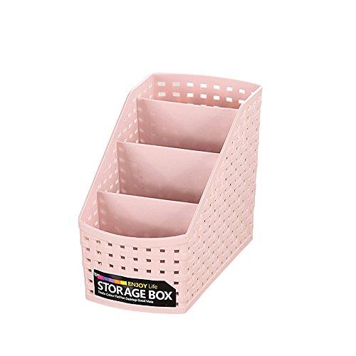 VANKER Kunststoff Schreibtisch multi-grid Kosmetik Organizer Fall Make-Up-Pinsel Hohl Aufbewahrungsbox Halter einfach Schreibtisch tidy-small; Pink