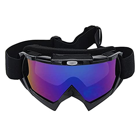 Coface Anti-Fog Snowmobile Snowboard Skate Ski Goggles with UV 400 Protection Lens Bendable OTG Frame Professional Windproof Dustproof Eyewere Glasses for Motorcycle Motocross ATV Bicycles Black Frame with Colorful