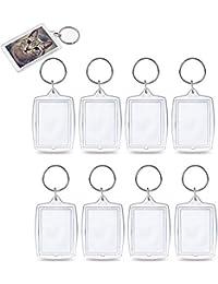 KINDPMA 25er Acryl Schlüsselanhänger Foto mit Schlüsselring Leer Bild Schlüsselanhänger Transparent Mini Bilderrahmen Fotoanhänger Schlüssel Beideseitig für Passbild Lichtbild 4 x 5.5cm