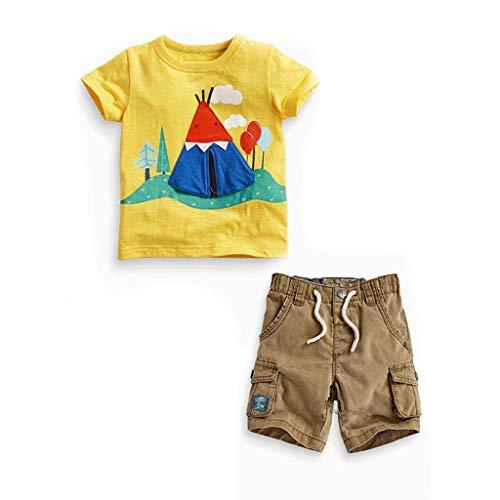 JUTOO 2 Stücke Set Sommer Kinder Kinder Baby Jungen Print T-Shirt Tops + Hosen Outfits Kleidung Set (Gelb,5T)