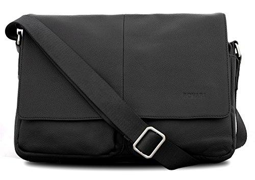 Bovari Messenger Bag Schultertasche Umhängetasche London - echt Leder - small - unisex - Limited Premium Edition - 35x27x8cm - schwarz / black / noir (Messenger Limited Edition)