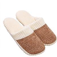 FENICAL Zapatillas Calientes Zapatillas cálidas Zapatillas de casa Zapatillas de casa interiores Tamaño 42-43 para Hombres Mujeres (Café)