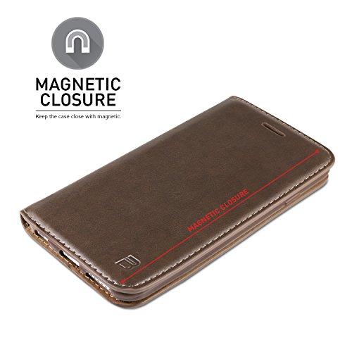iPhone 6S Hülle, BEZ® Handyhülle iPhone 6 / 6S, Flip Case Cover Schutzhüllen aus Klappetui mit Kreditkartenhaltern, Ständer, Magnetverschluss - Braun Braun