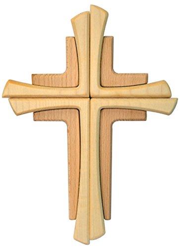 schenkidee - Wandkreuz Echtes Holz Buche Kreuz Kruzifix für die Wand 35 cm modern ()